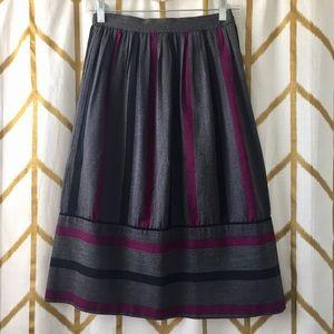 Vintage Striped Pleated Midi Skirt
